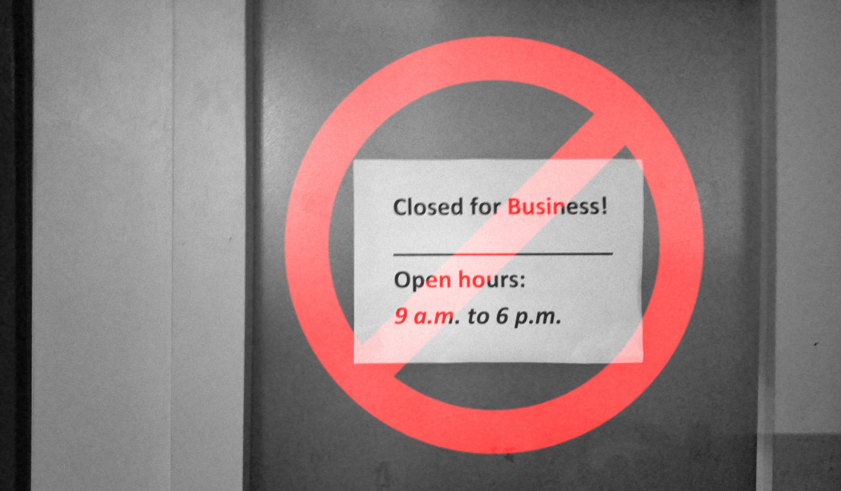 "No more ""closed for business"" posters"