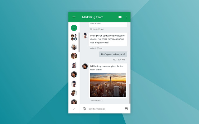 Google hangout user interface for collaboration